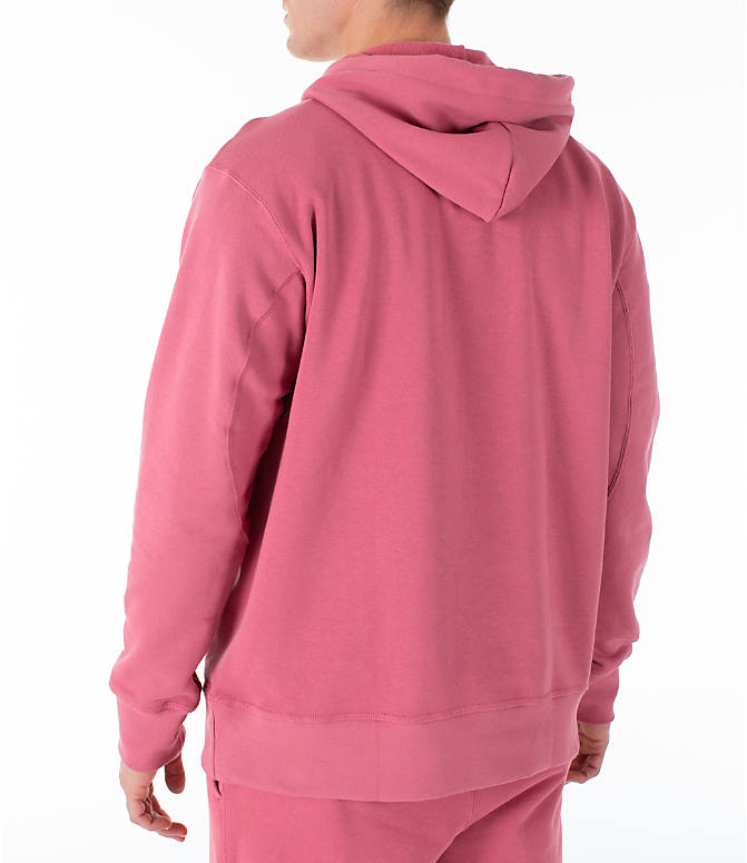 Back Left view of Men's adidas Originals Kaval Hoodie in Coral