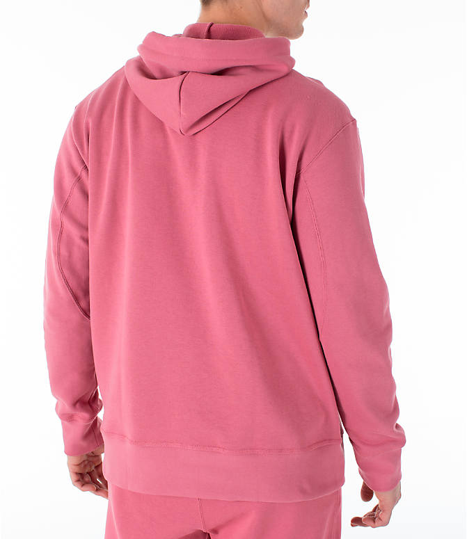 Back Right view of Men's adidas Originals Kaval Hoodie in Coral