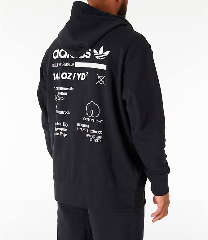 Back Right view of Men's adidas Originals Kaval Full-Zip Hoodie in Black