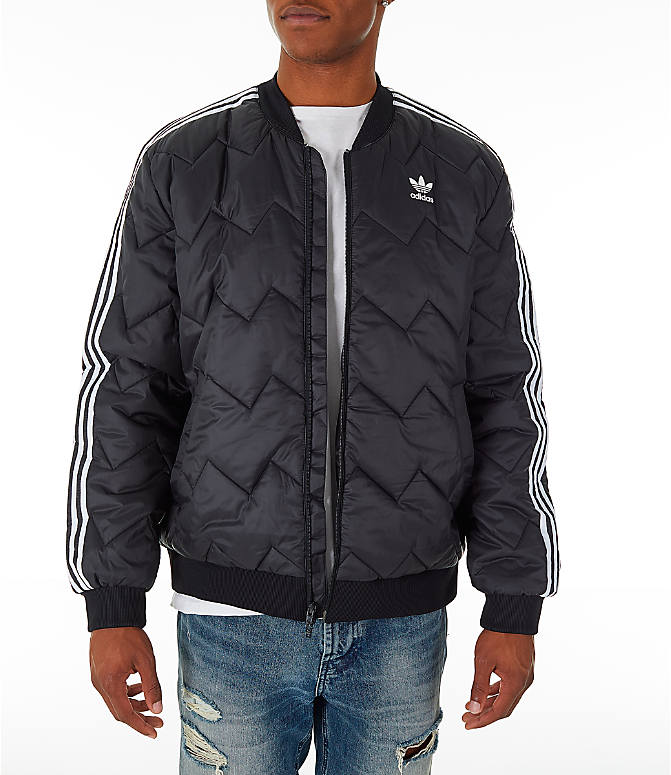 Front view of Men s adidas Originals SST Quilted Jacket in Black 6d5d477121