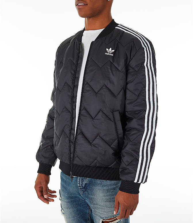 Front Three Quarter view of Men's adidas Originals SST Quilted Jacket in Black