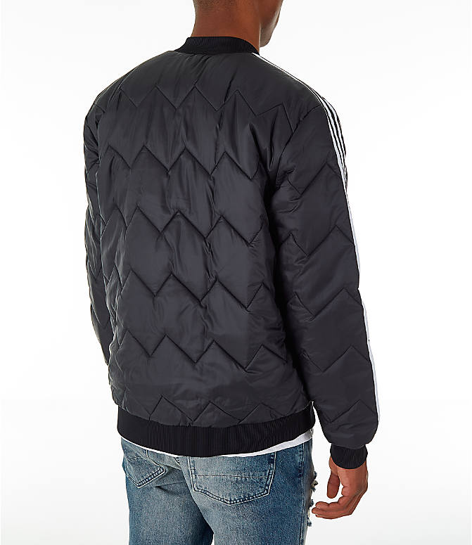 Back Right view of Men's adidas Originals SST Quilted Jacket in Black