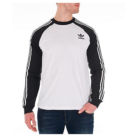 Adidas Originals Tops MEN'S ORIGINALS 3-STRIPES LONG-SLEEVE T-SHIRT, WHITE