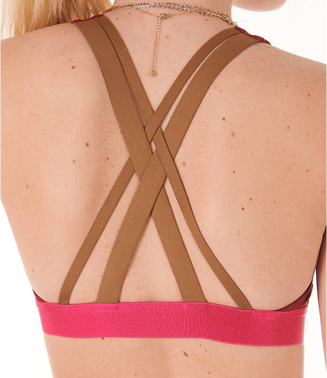 Detail 1 view of Women's adidas Don't Rest Iteration Sports Bra in Noble Maroon