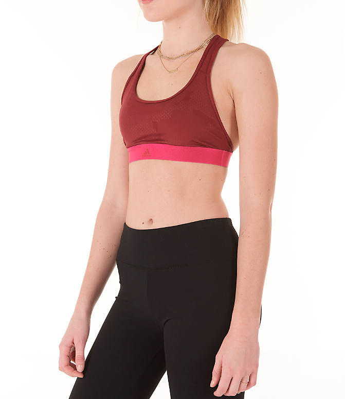 Front Three Quarter view of Women's adidas Don't Rest Iteration Sports Bra in Noble Maroon