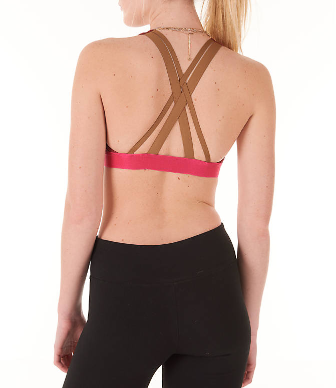 Back Left view of Women's adidas Don't Rest Iteration Sports Bra in Noble Maroon