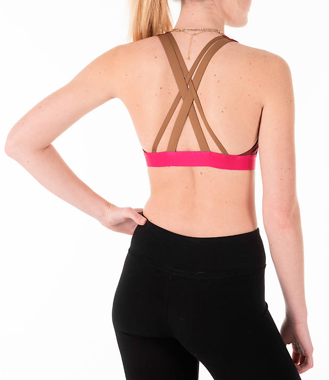 Back Right view of Women's adidas Don't Rest Iteration Sports Bra in Noble Maroon