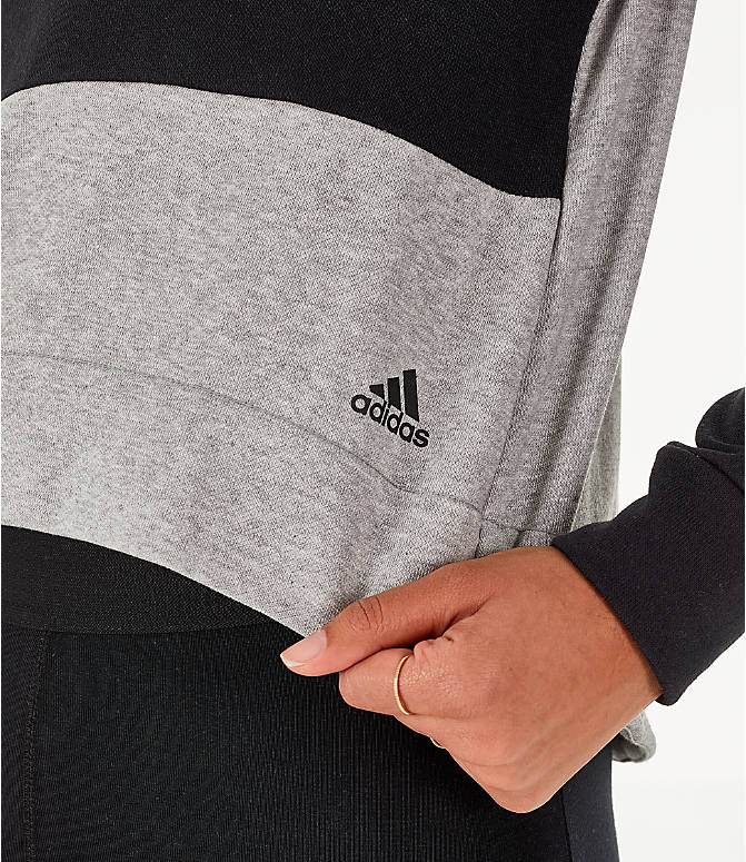 Detail 1 view of Women's adidas Turtleneck Crop Fleece Sweatshirt in Medium Grey Heather
