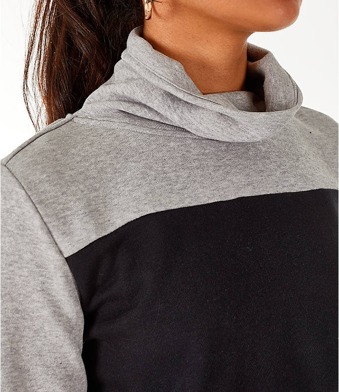 Detail 2 view of Women's adidas Turtleneck Crop Fleece Sweatshirt in Medium Grey Heather