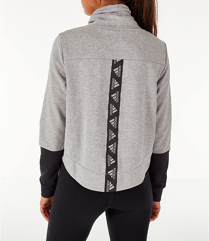 Front view of Women's adidas Turtleneck Crop Fleece Sweatshirt in Medium Grey Heather