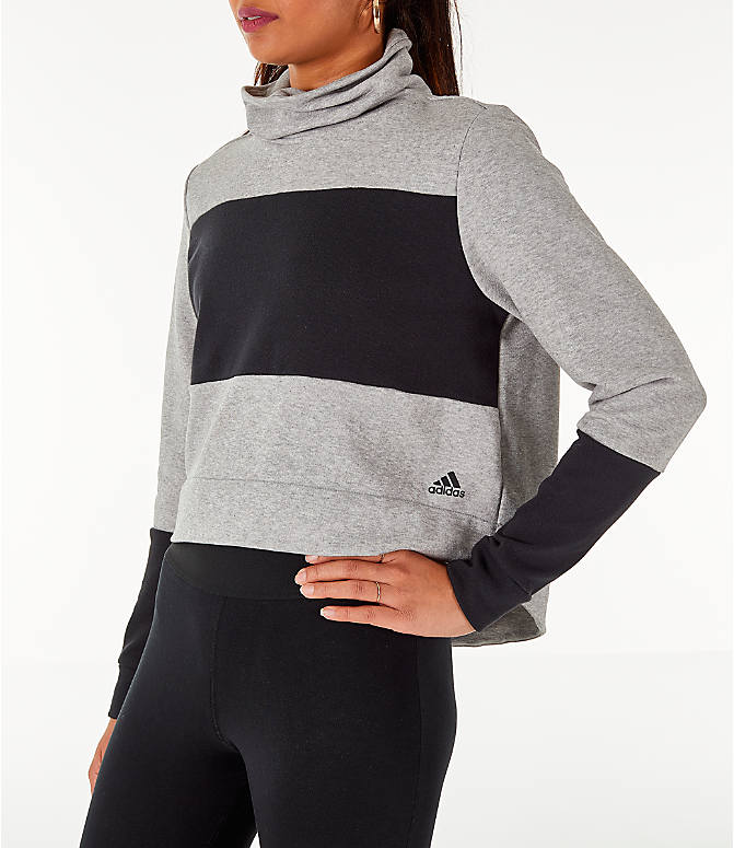 Front Three Quarter view of Women's adidas Turtleneck Crop Fleece Sweatshirt in Medium Grey Heather