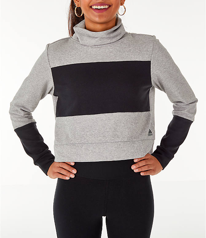 Back Left view of Women's adidas Turtleneck Crop Fleece Sweatshirt in Medium Grey Heather