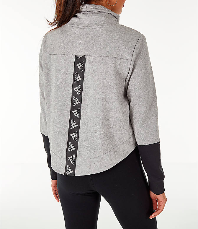 Back Right view of Women's adidas Turtleneck Crop Fleece Sweatshirt in Medium Grey Heather