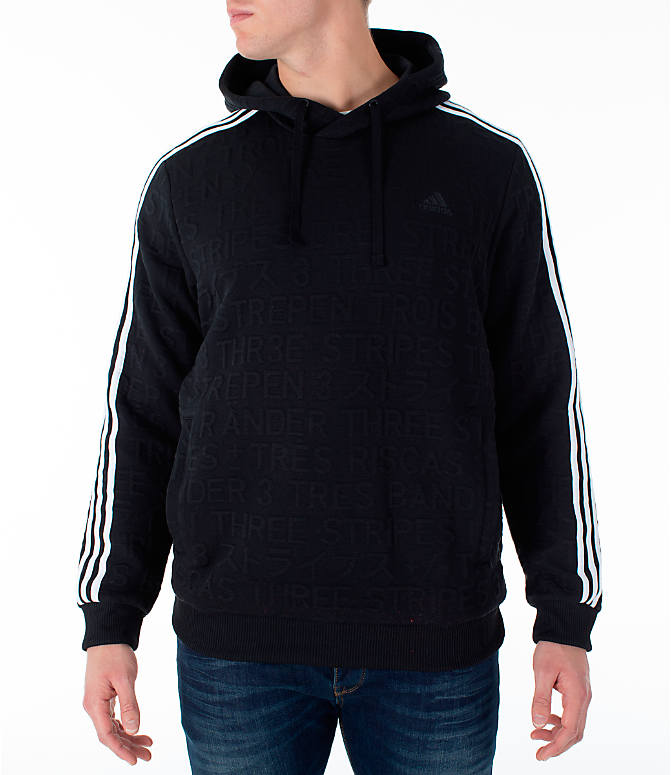 Front view of Men's adidas Essentials Pullover Hoodie in Black