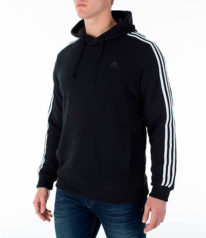 Front Three Quarter view of Men's adidas Essentials Pullover Hoodie in Black
