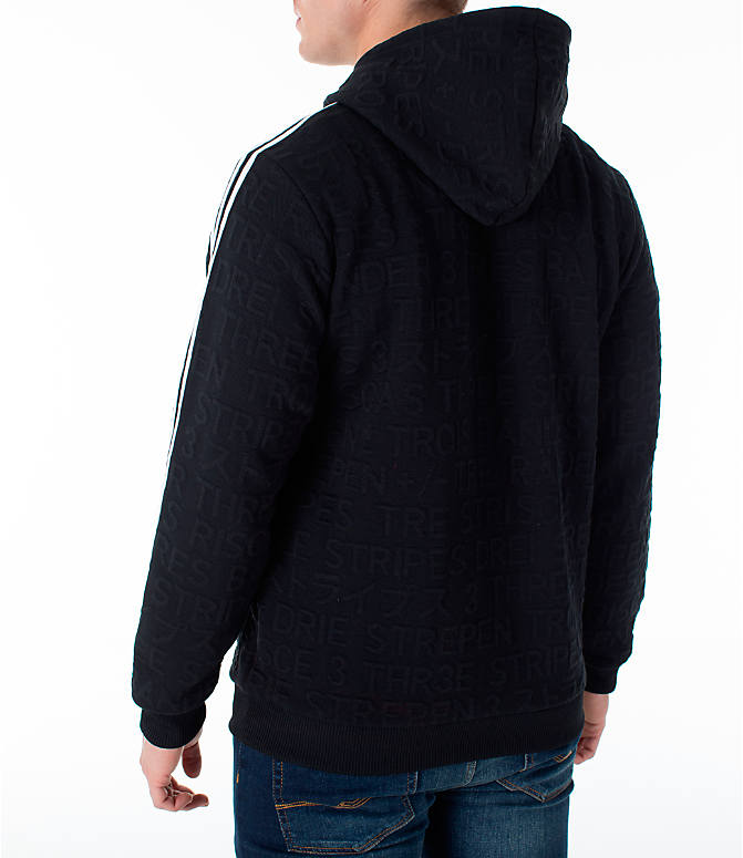 Back Left view of Men's adidas Essentials Pullover Hoodie in Black