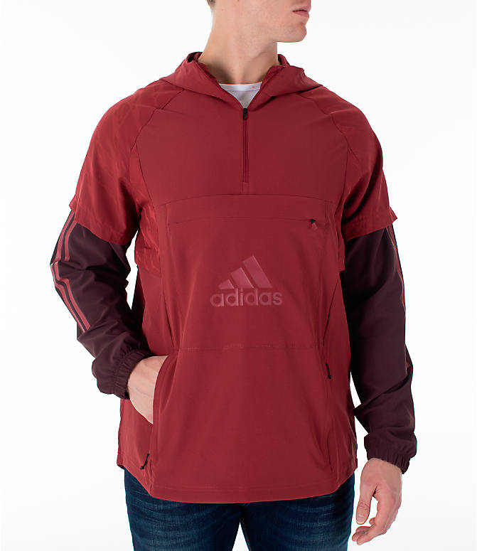 Front view of Men's adidas Athletics ID Woven Anorak Shell Wind Jacket in Noble Maroon