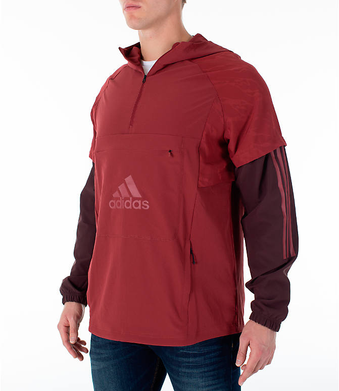 Front Three Quarter view of Men's adidas Athletics ID Woven Anorak Shell Wind Jacket in Noble Maroon