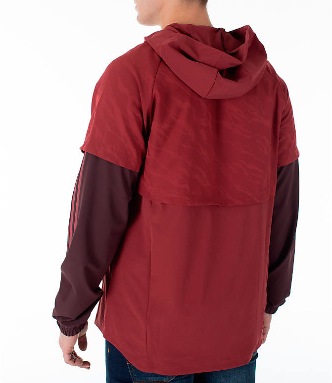 Back Left view of Men's adidas Athletics ID Woven Anorak Shell Wind Jacket in Noble Maroon
