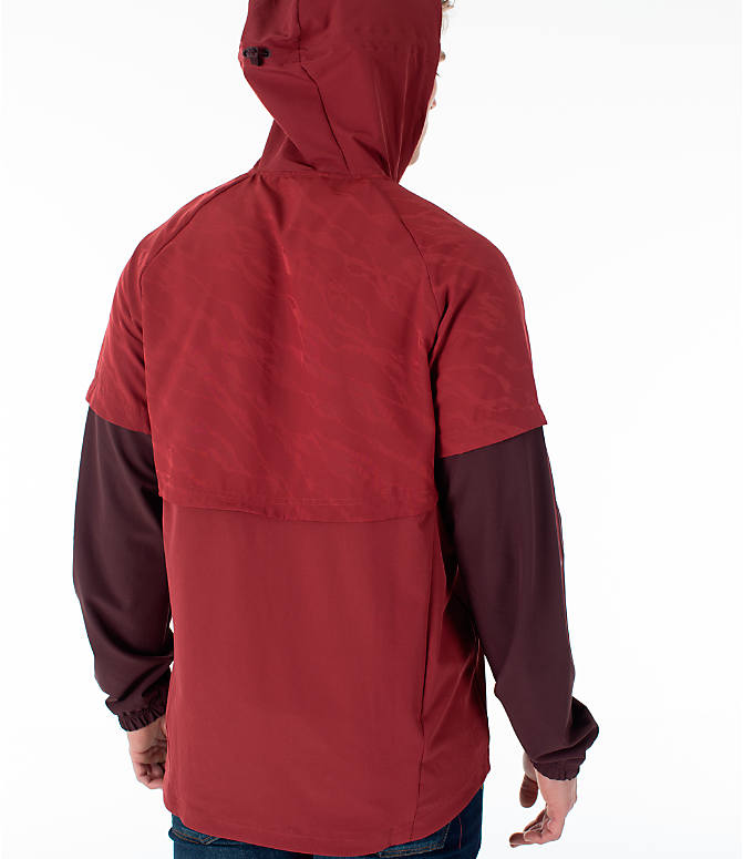 Back Right view of Men's adidas Athletics ID Woven Anorak Shell Wind Jacket in Noble Maroon