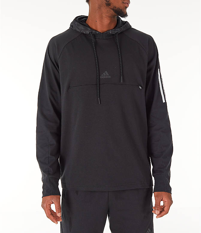 Front view of Men's adidas Sport 2 Street Lifestyle Pullover Hoodie in Black