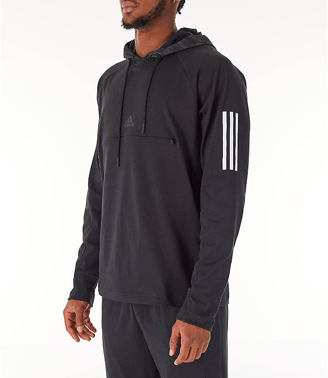 Front Three Quarter view of Men's adidas Sport 2 Street Lifestyle Pullover Hoodie in Black
