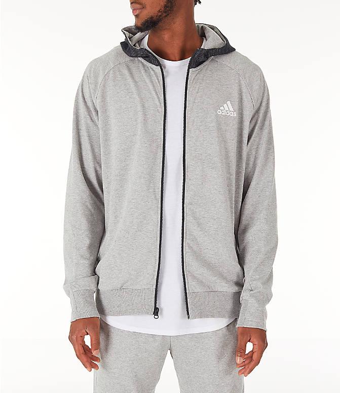 1ec4ce0ea Front view of Men s adidas Sport 2 Street Lifestyle Full-Zip Hoodie in Dark  Grey