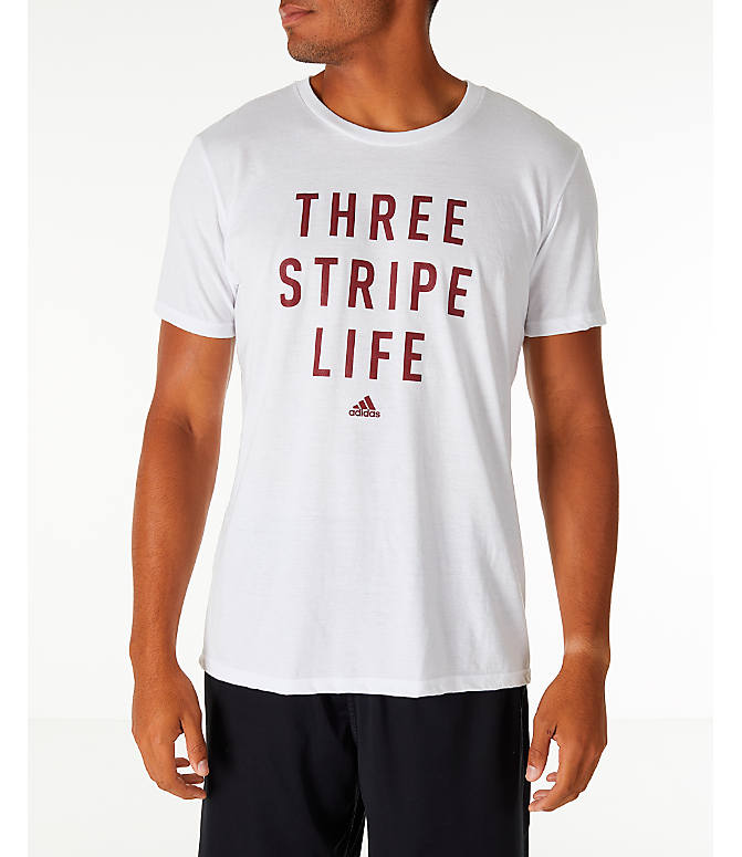 Front view of Men's adidas Three Stripe Life T-Shirt in White