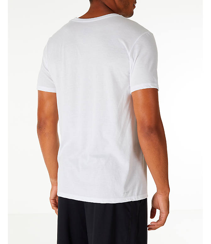Back Right view of Men's adidas Three Stripe Life T-Shirt in White