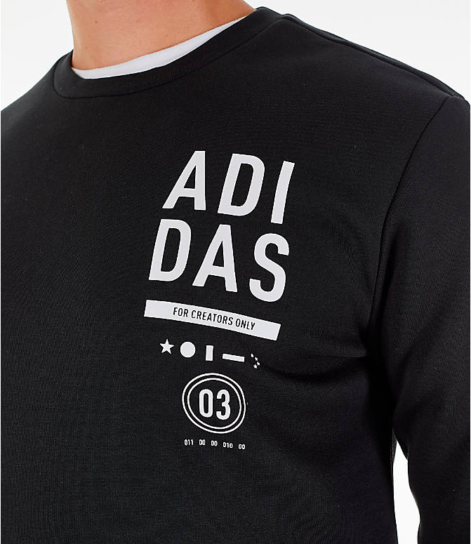 Detail 1 view of Men's adidas Athletics International Fleece Crewneck Sweatshirt in Black