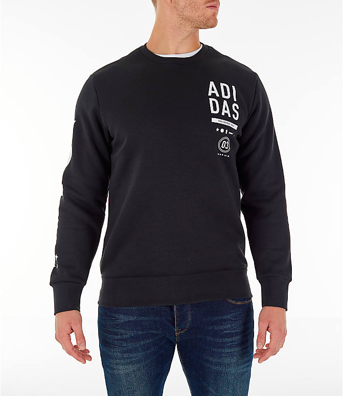Front view of Men's adidas Athletics International Fleece Crewneck Sweatshirt in Black