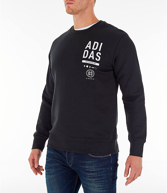 Front Three Quarter view of Men's adidas Athletics International Fleece Crewneck Sweatshirt in Black