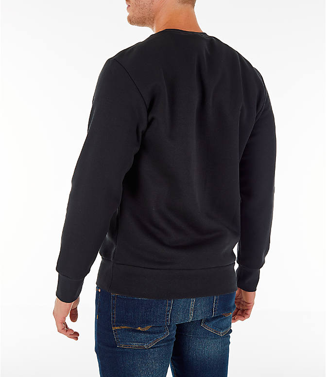 Back Left view of Men's adidas Athletics International Fleece Crewneck Sweatshirt in Black