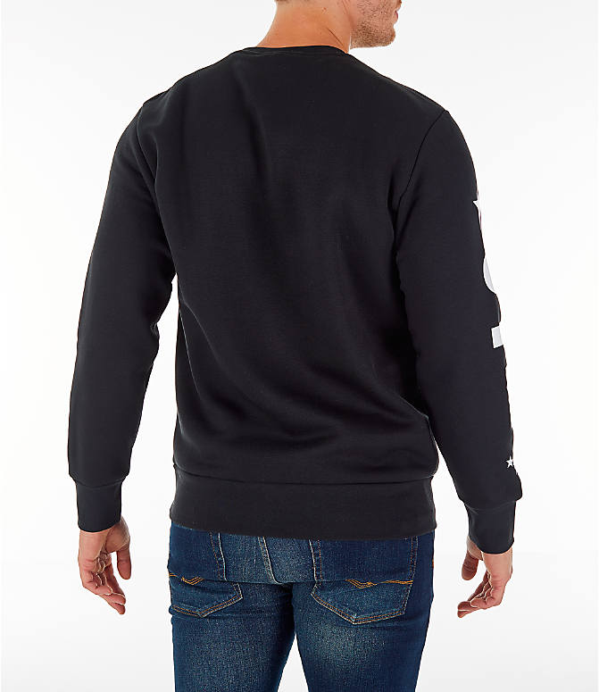 Back Right view of Men's adidas Athletics International Fleece Crewneck Sweatshirt in Black