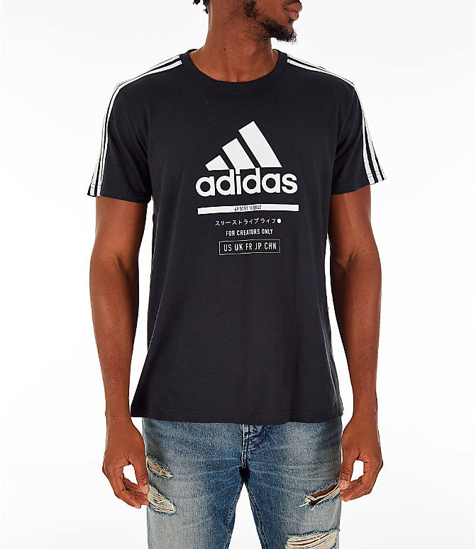 Front view of Men's adidas Classic International T-Shirt in Black