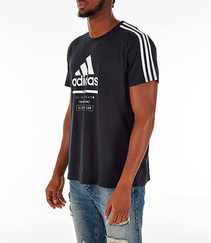 Front Three Quarter view of Men's adidas Classic International T-Shirt in Black