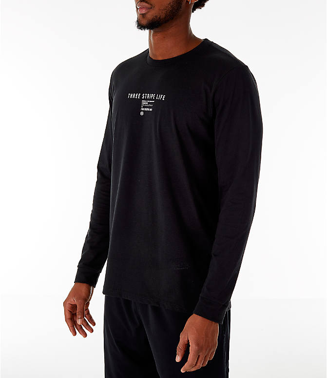Back Left view of Men's adidas Athletics International Long Sleeve T-Shirt in Black