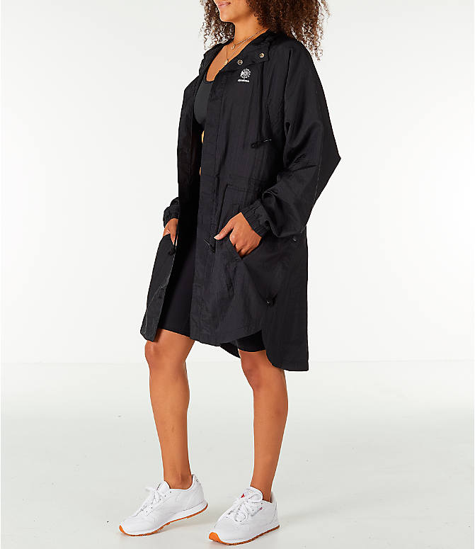 Front Three Quarter view of Unisex Reebok Classics Poncho Jacket in Black