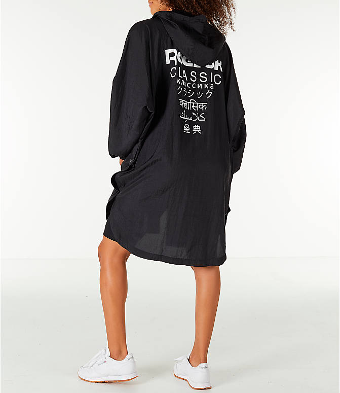 Back Left view of Unisex Reebok Classics Poncho Jacket in Black