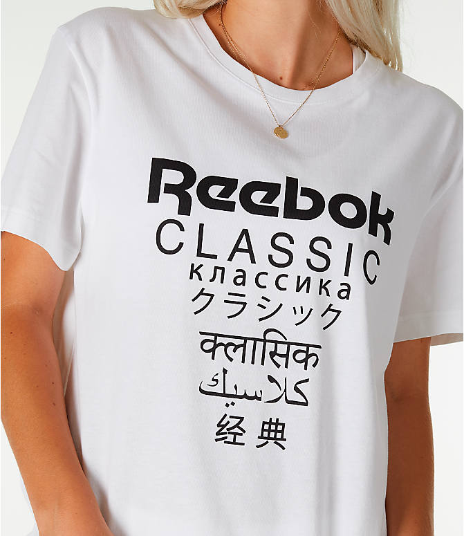 Detail 1 view of Unisex Reebok Classics Short-Sleeve Extended T-Shirt in White