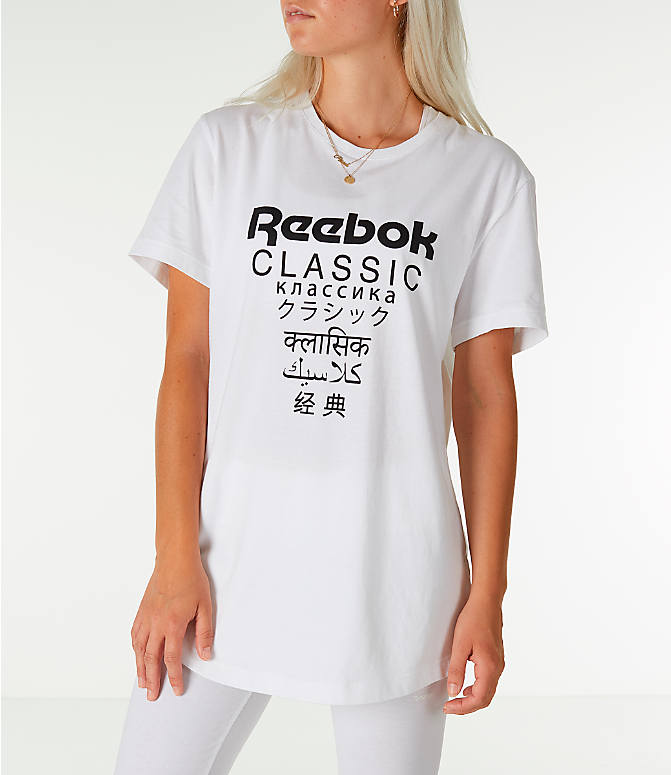 Front view of Unisex Reebok Classics Short-Sleeve Extended T-Shirt in White