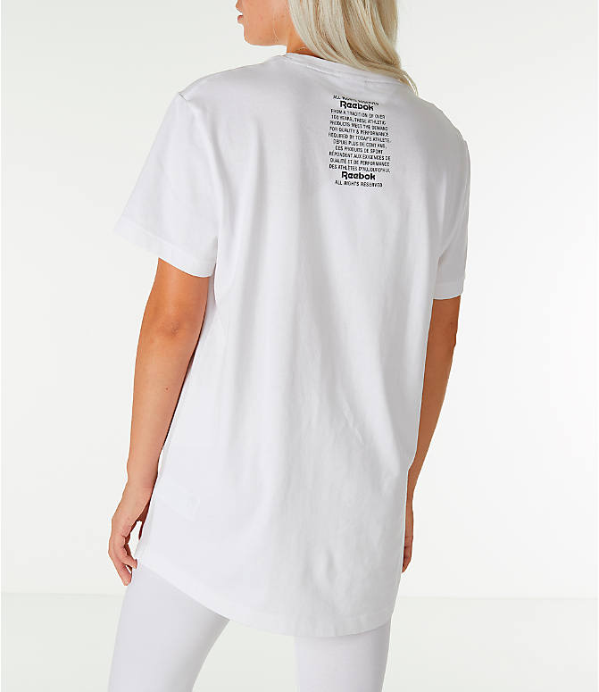 Back Left view of Unisex Reebok Classics Short-Sleeve Extended T-Shirt in White