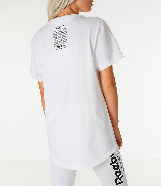 Back Right view of Unisex Reebok Classics Short-Sleeve Extended T-Shirt in White