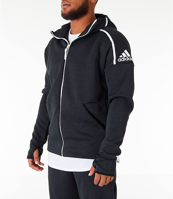 Front Three Quarter view of Men's adidas Z.N.E. Fast Release Full-Zip Hoodie in Black
