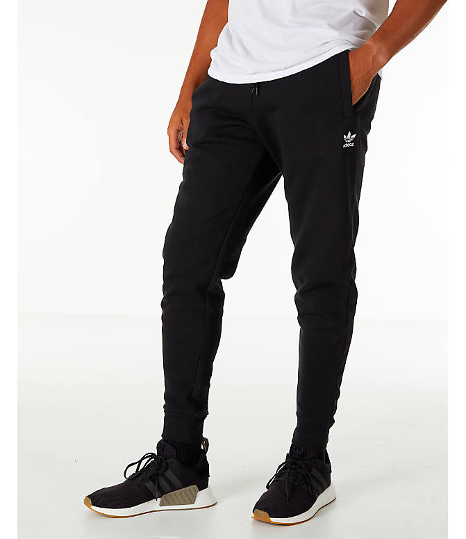Front view of Men's adidas Originals adicolor Cuffed Jogger Pants in Black