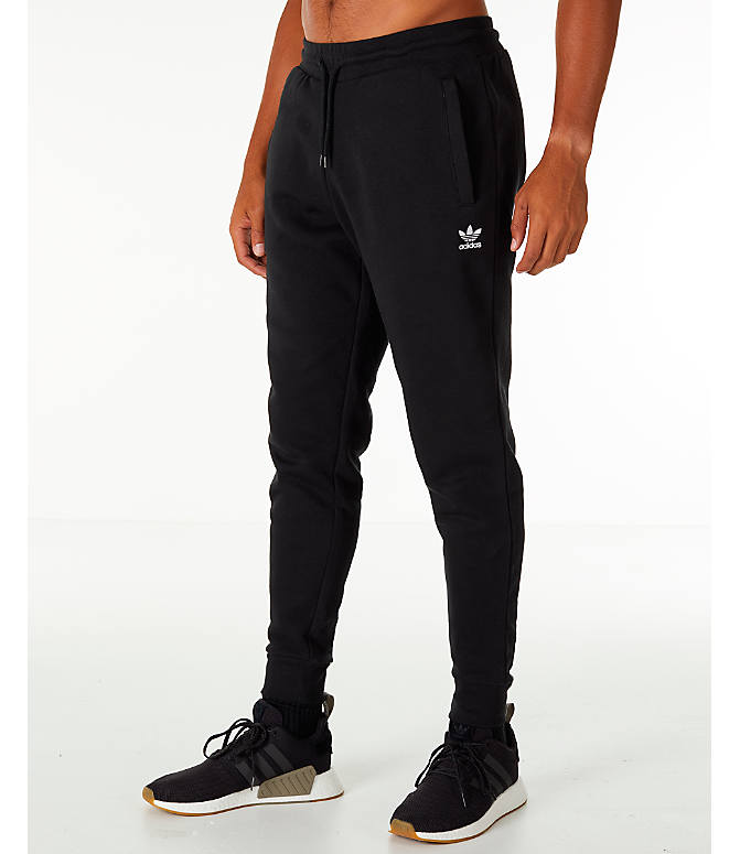 Front Three Quarter view of Men's adidas Originals adicolor Cuffed Jogger Pants in Black