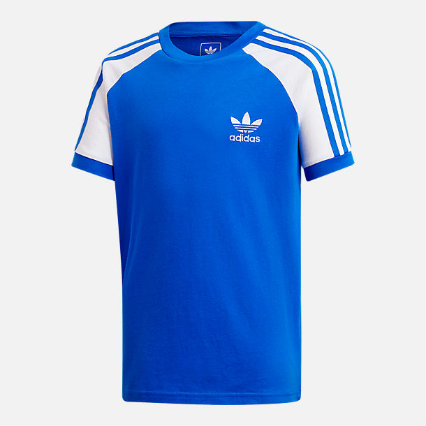 Front view of Kids' adidas Originals Cali T-Shirt in Blue/White