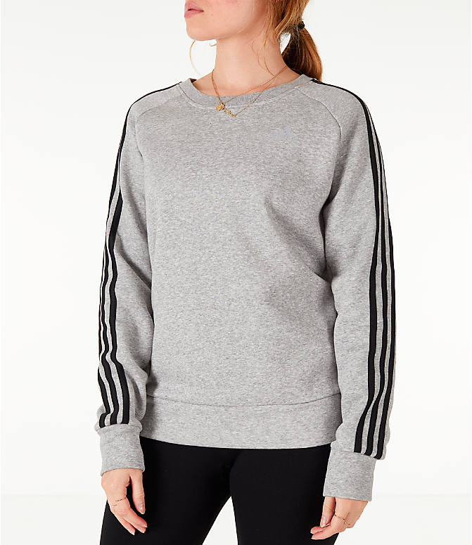 Front view of Women's adidas 3-Stripes Sweatshirt in Grey/Black
