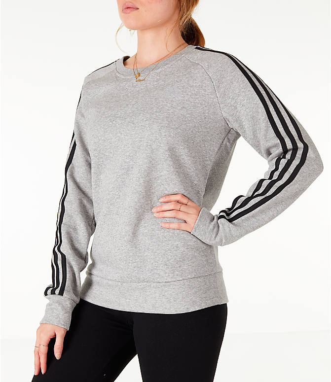 Front Three Quarter view of Women's adidas 3-Stripes Sweatshirt in Grey/Black