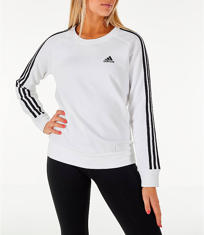 Front view of Women's adidas 3-Stripes Sweatshirt in White/Black